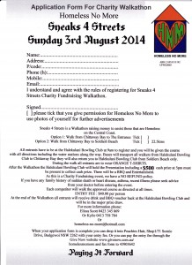 Homeless No More Sneaks 4 Streets Charity Fundraising Registration Form